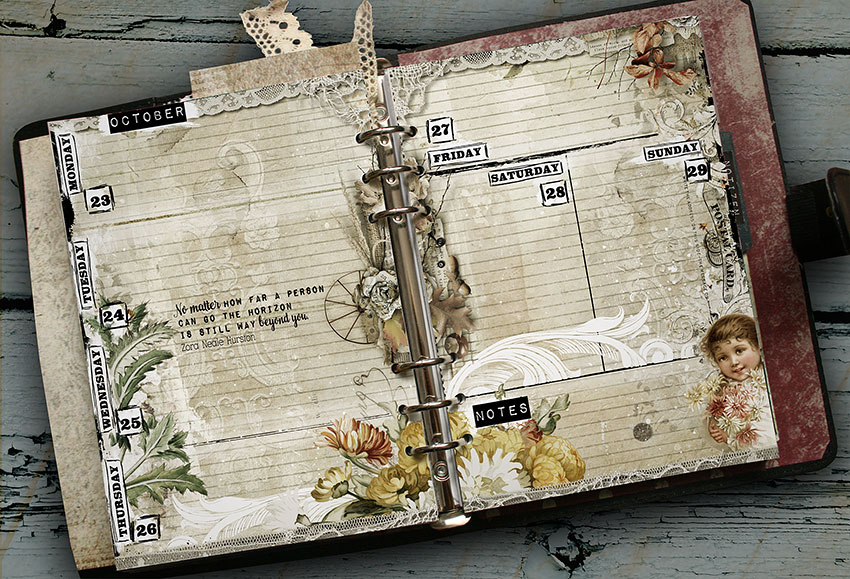vintage planner pages