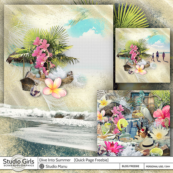 Summer Scrapbook Quick Page Freebie