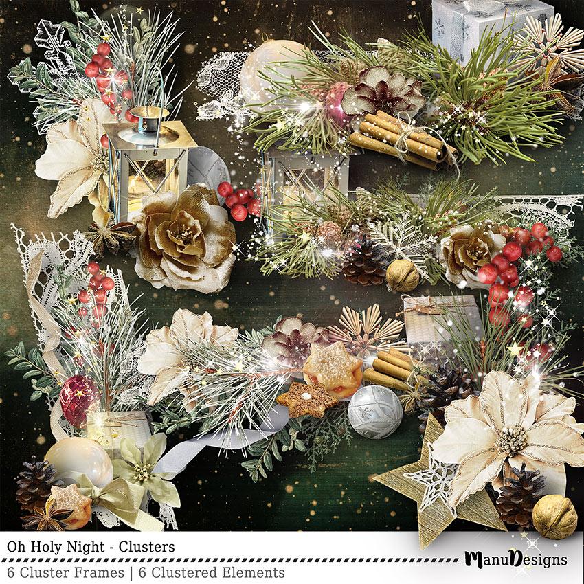 Christmas digital scrapbook clusters