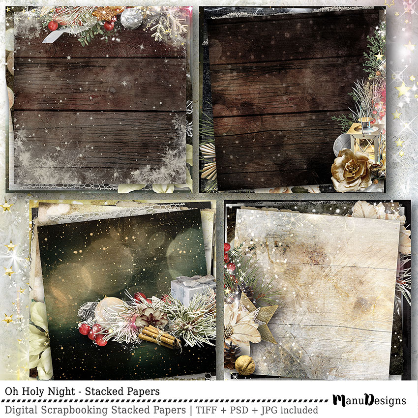 Christmas digital scrapbook stacked papers