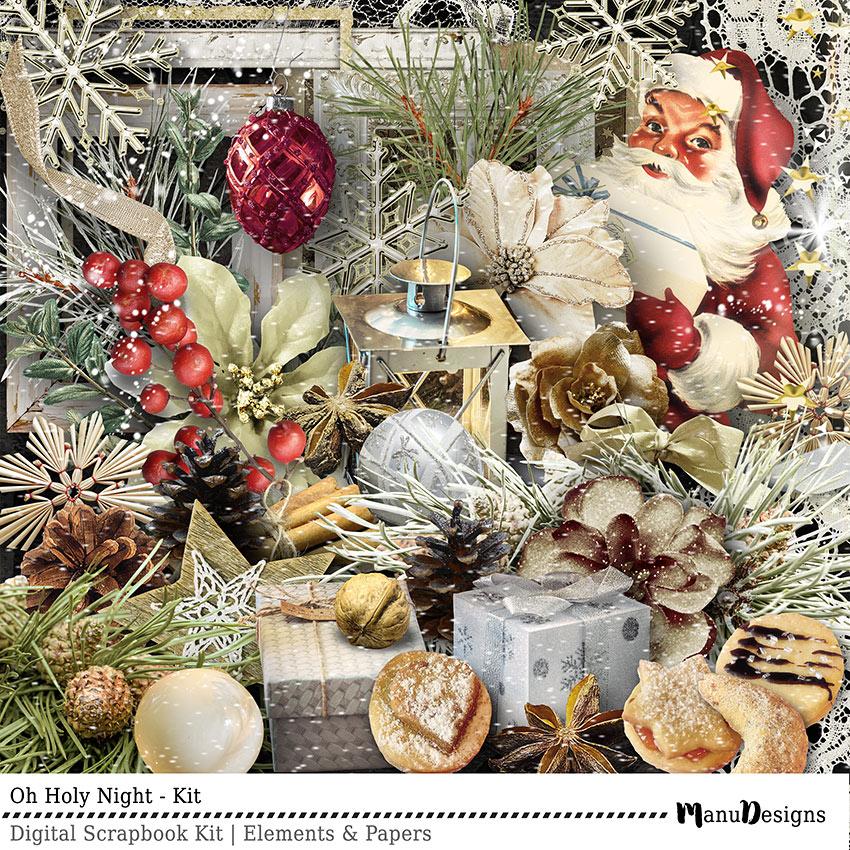Christmas digital scrapbook kit