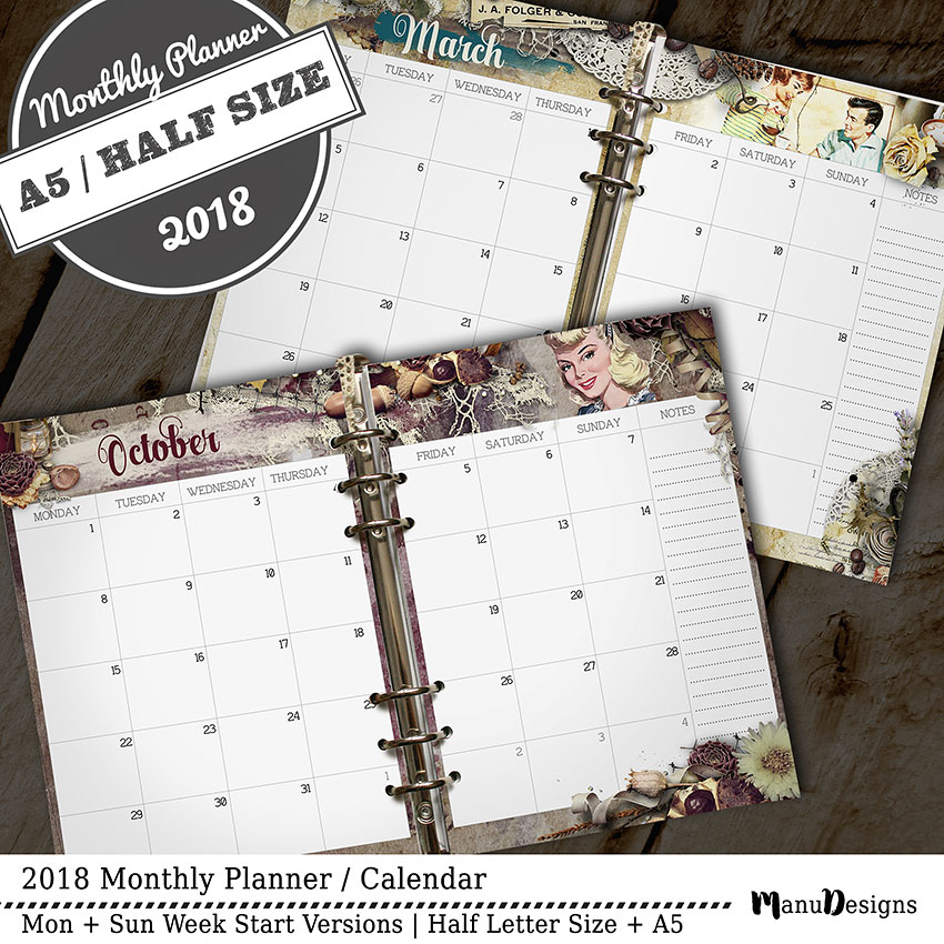 Monthly planner inserts 2018