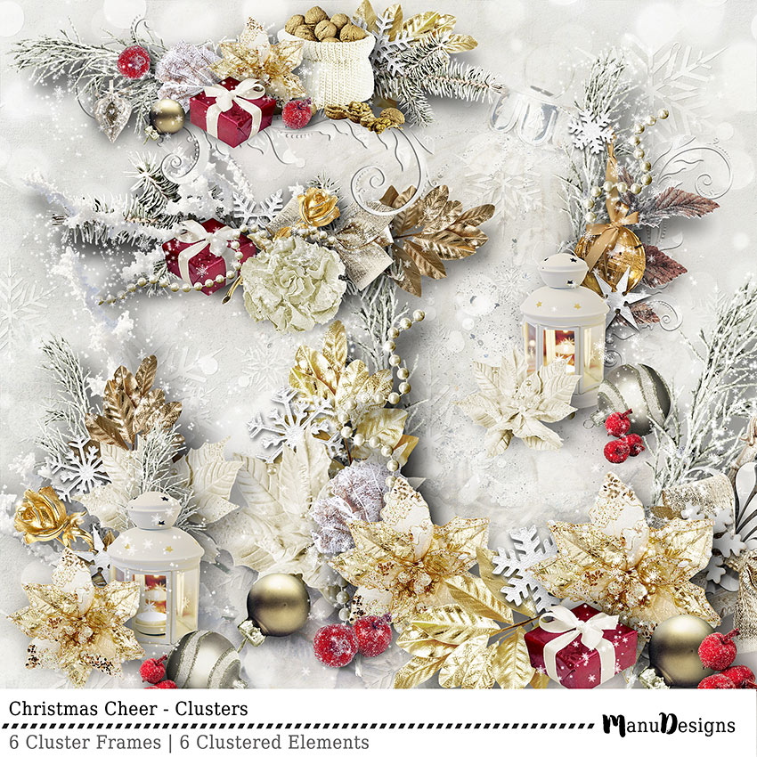 Christmas Cheer digital scrapbook clusters
