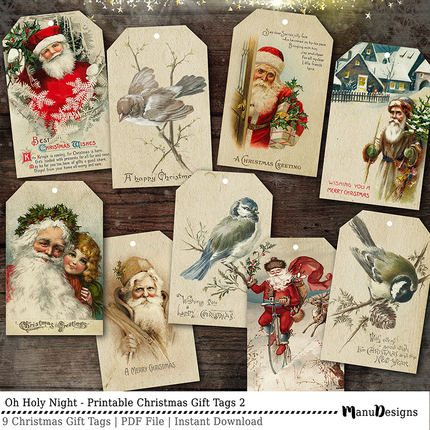 Vintage Christmas Gift Tags Printable