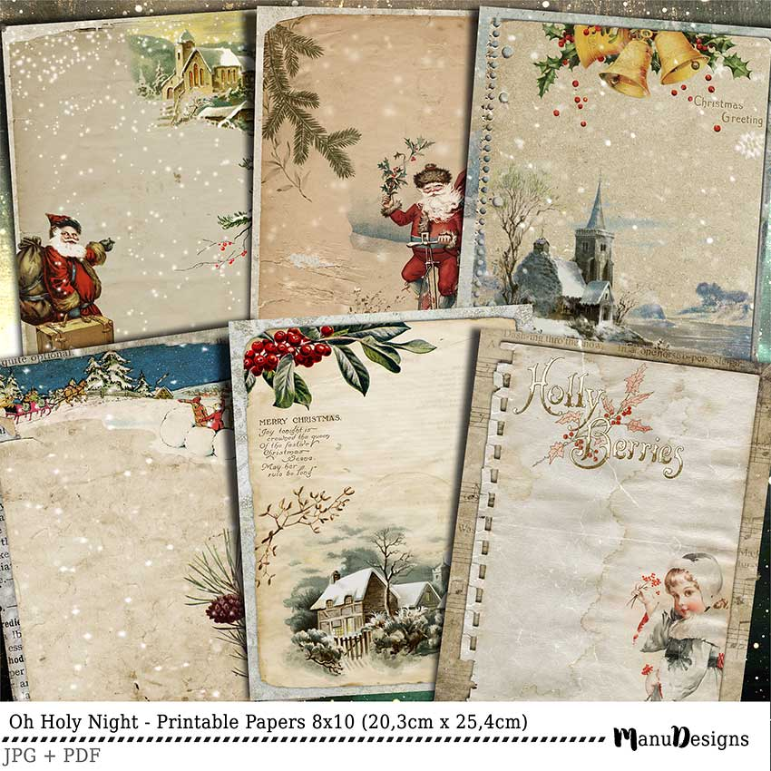 Vintage Christmas Printable Papers 8x10