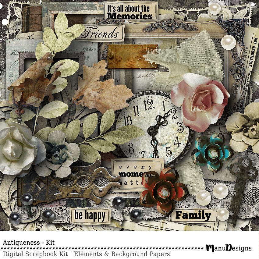 vintage digital scrapbook kit - antiqueness