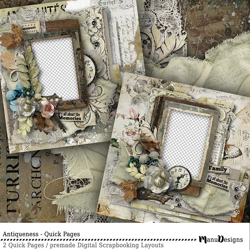 vintage digital scrapbook quick pages
