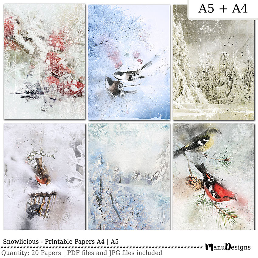Digital printable winter papers