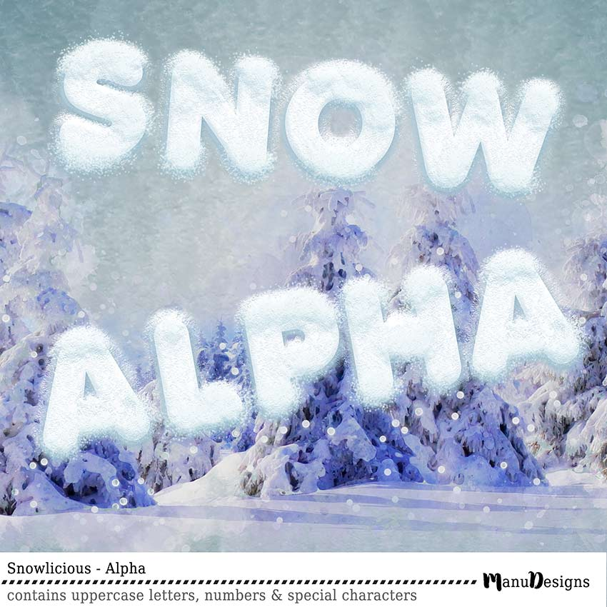 digital winter snow alphabet