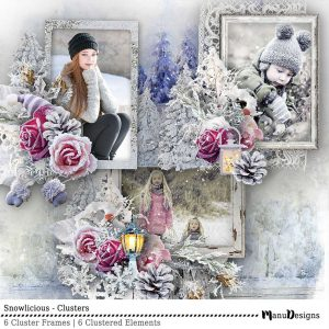Digital Winter Scrapbook Clusters Snowlicious
