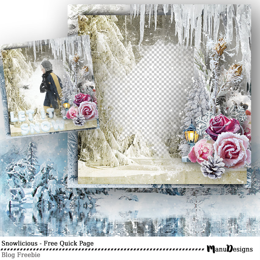 Winter digital scrapbook quick page freebie - snowlicious