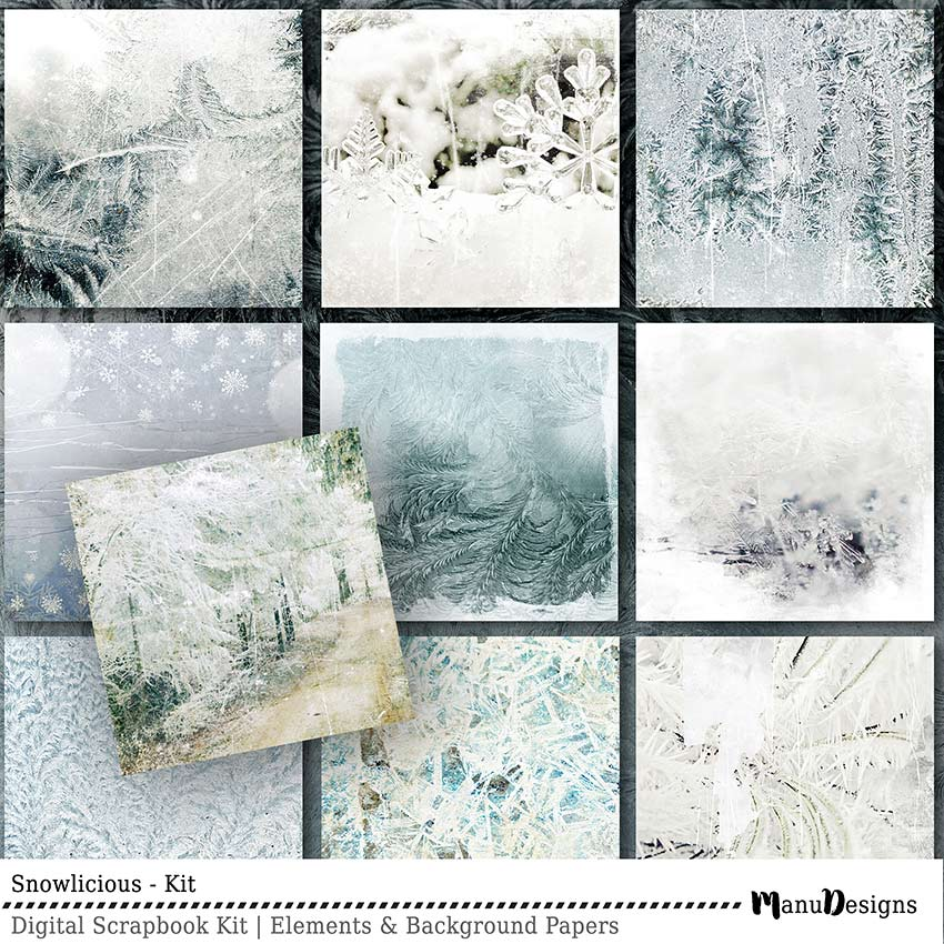 Digital Winter Scrapbook Background Papers Snowlicious