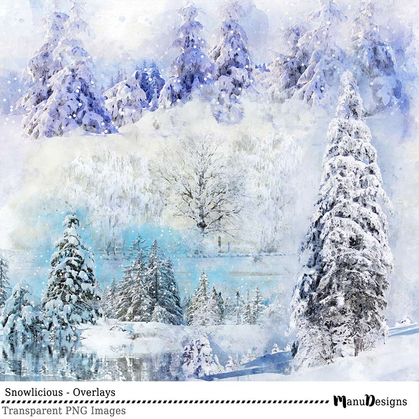 Digital Winter Scrapbook Overlays Snowlicious