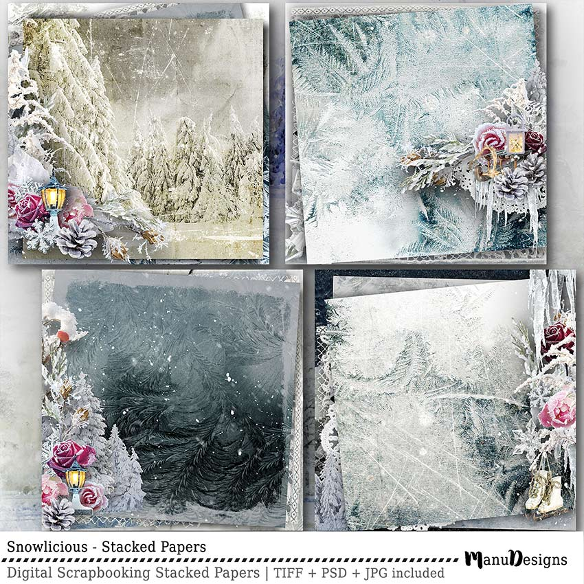 Digital Winter Scrapbook Stacked Papers Snowlicious