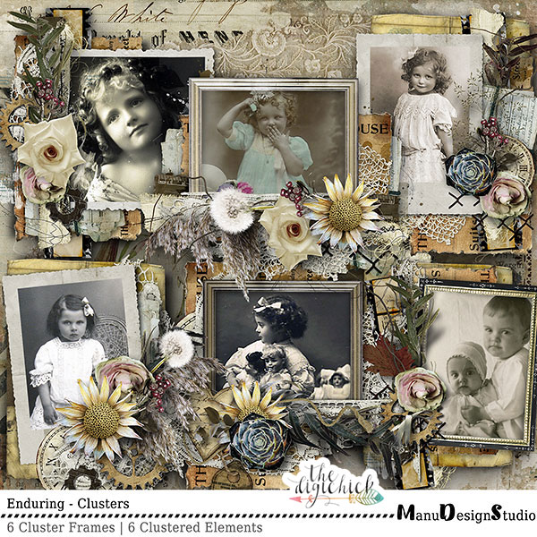 Enduring - Vintage Digital Scrapbook Clusters
