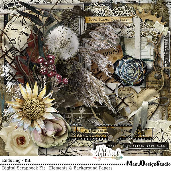Enduring - Vintage Digital Scrapbook Kit
