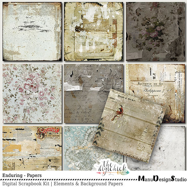 Enduring - Vintage Digital Scrapbook Papers