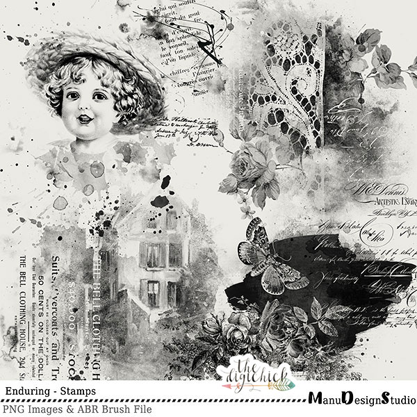 Enduring - Vintage Digital Scrapbooking Brushes and Stamps