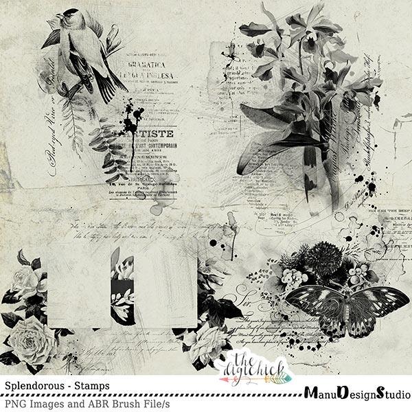 Digital Scrapbooking Splendorous Stamps And Brushes