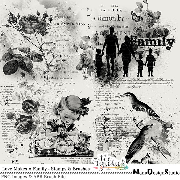 Photoshop Brushes and Vintage Grunge Scrapbook Stamps