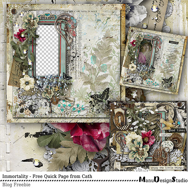Vintage digital scrapbook Quick Page Freebie