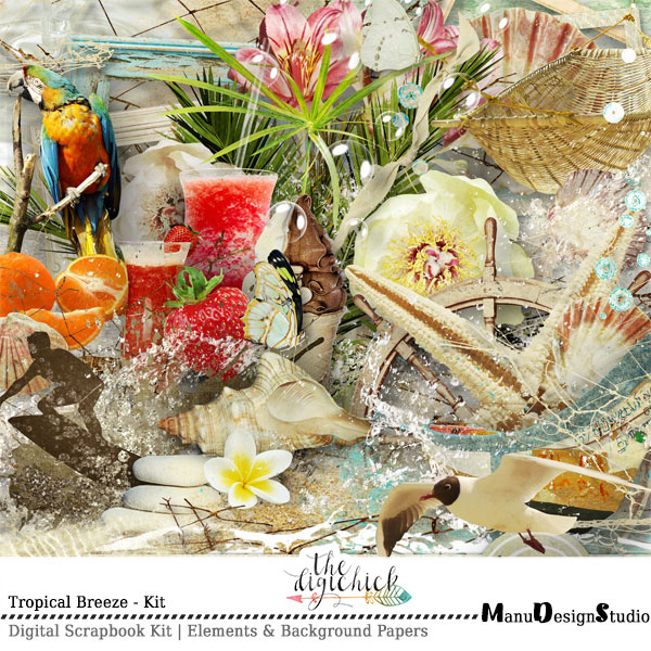 Tropical Summer Digital Scrapbook Kit