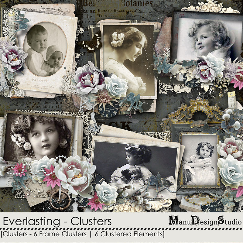 Vintage Digital Scrapbook Clusters
