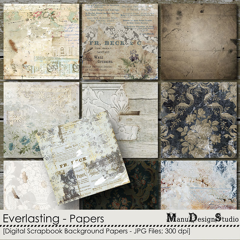 Everlasting: Vintage Digital Scrapbook Papers