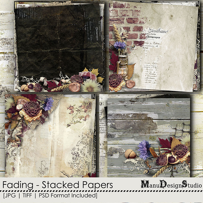 scrapbook autumn stacked papers