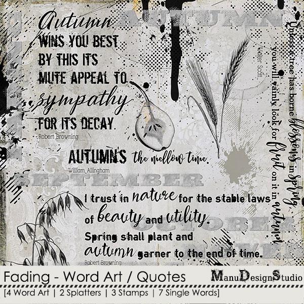 scrapbook autumn word art