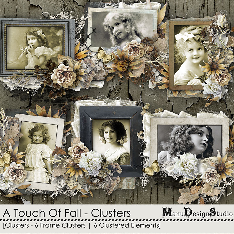 A Touch Of Fall - Vintage Fall Scrapbook Clusters