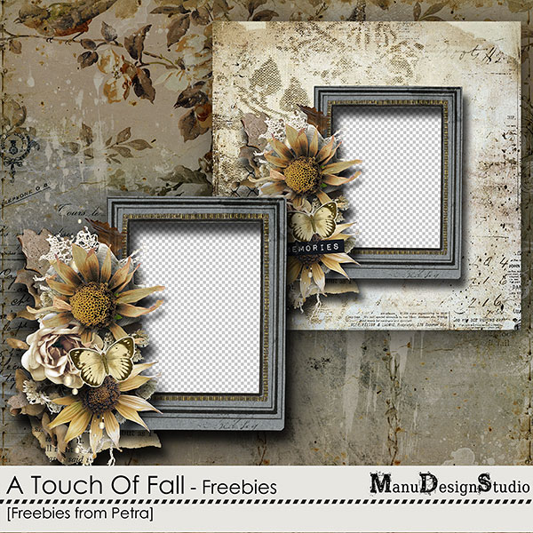 Vintage Autumn Freebie Cluster Frame and Quick Page from Petra