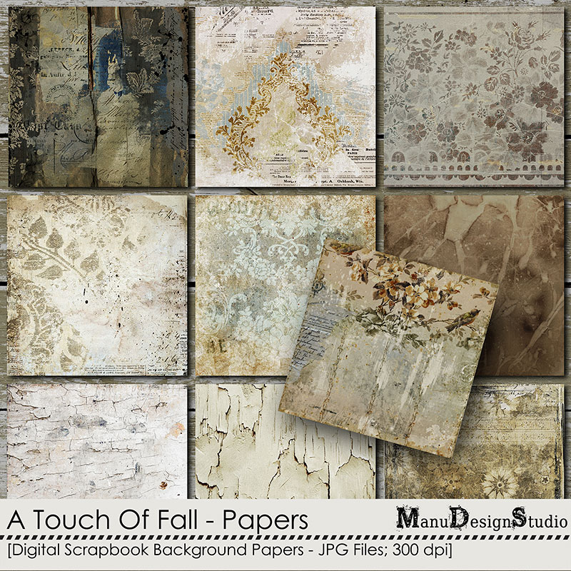 A Touch Of Fall - Vintage Fall Scrapbook Papers