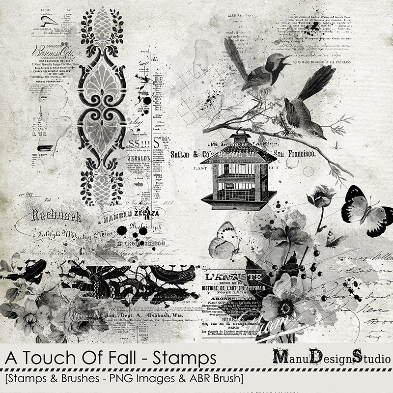 A Touch Of Fall - Vintage Fall Scrapbook Stamps and Brushes