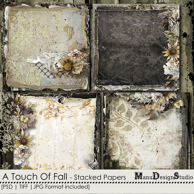 A Touch Of Fall - Vintage Fall Scrapbook Stacked Papers