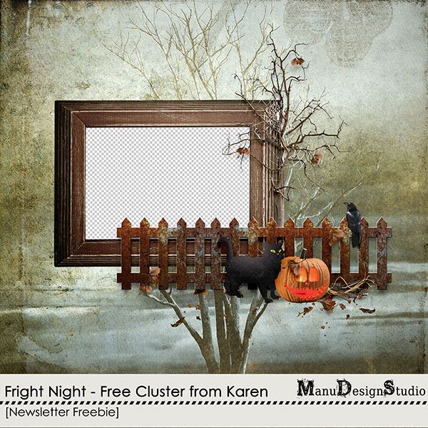 Halloween digital scrapbook cluster freebie