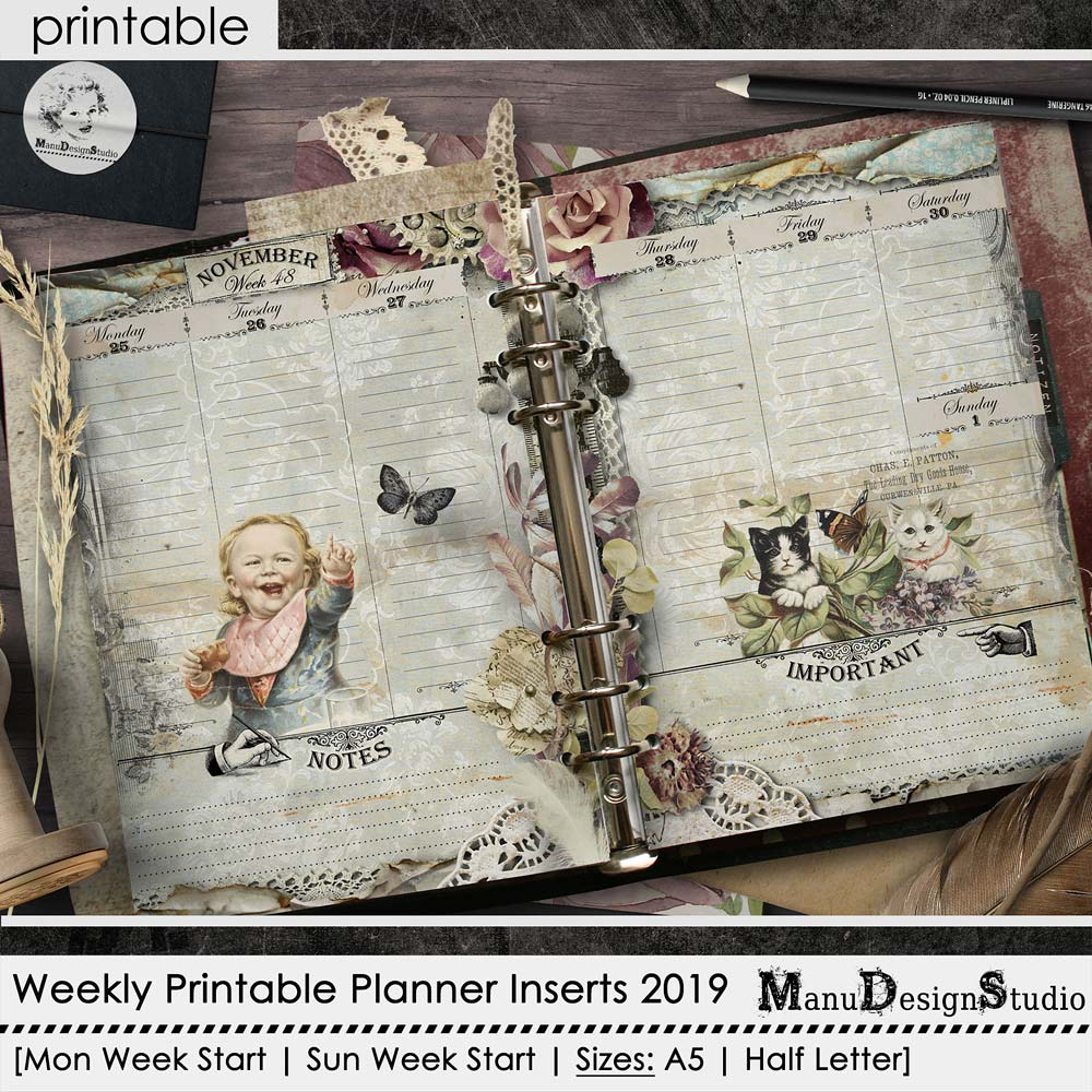 Printable weekly planner pages 2019 - no.3
