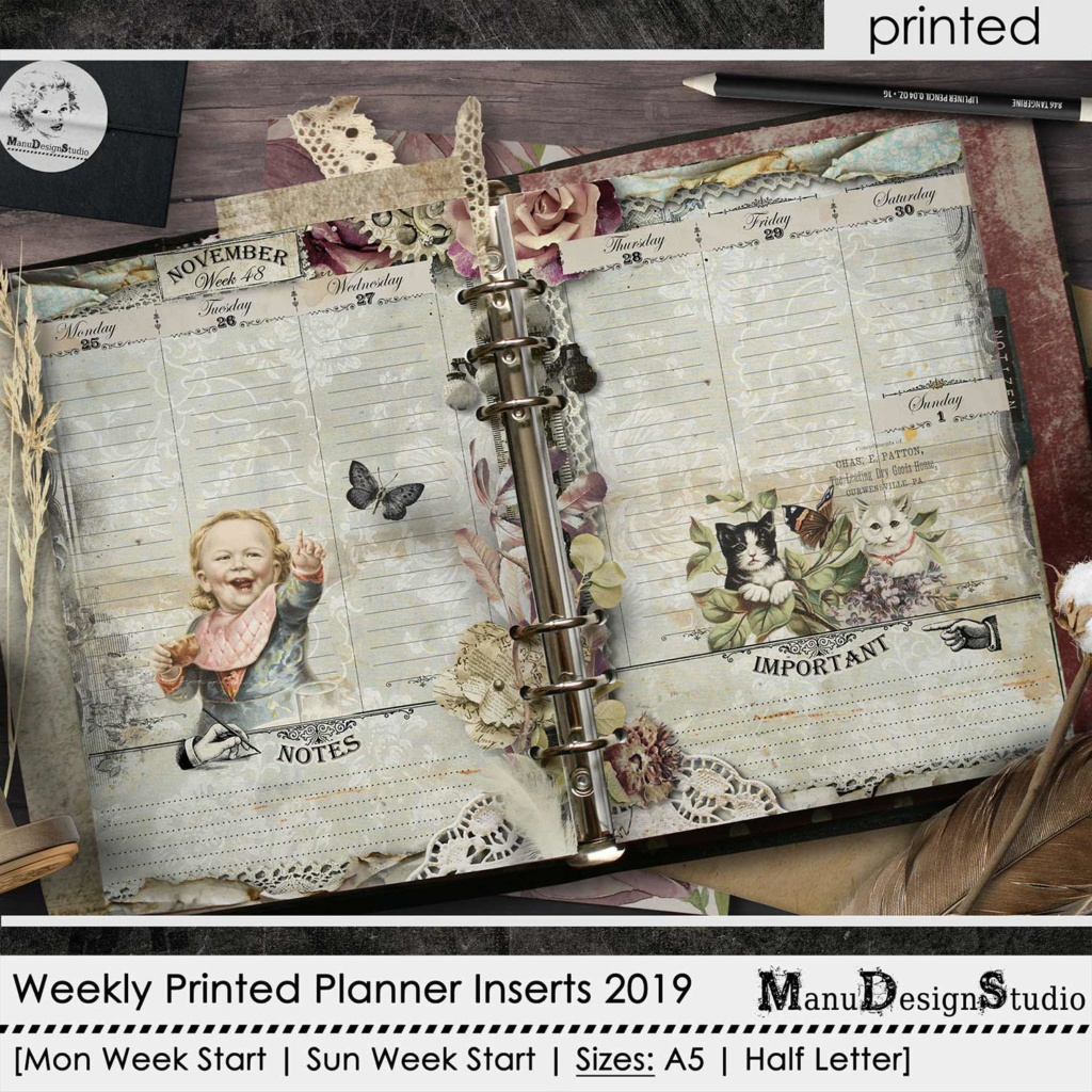 Planner Pages, Planner Inserts 2019