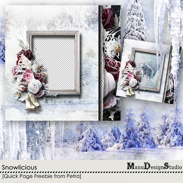 winter digital scrapbook quick page
