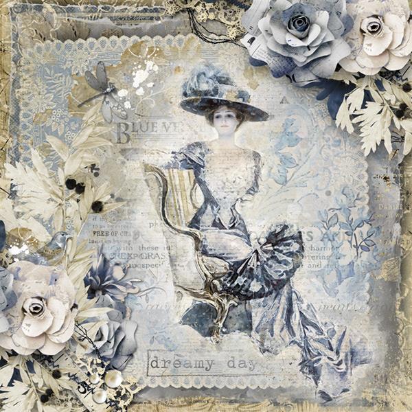 Scrapbook Inspiration Layout Blue Velvet