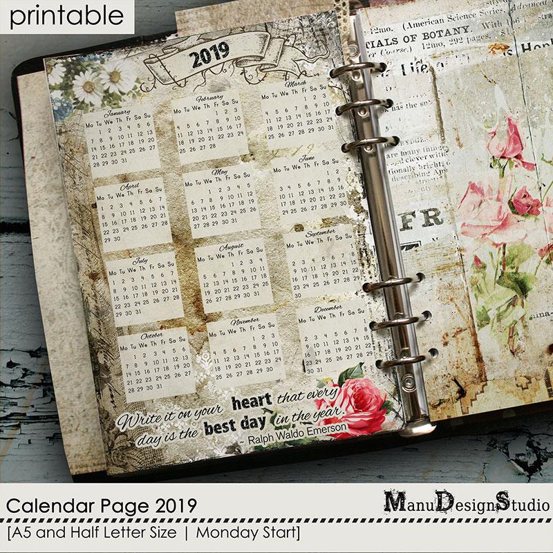 Calendar Page 2019