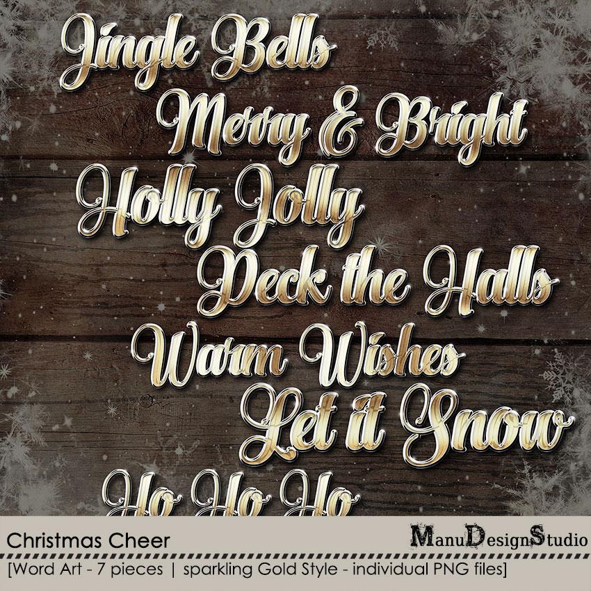 Christmas Cheer - Digital scrapbook christmas sparkling word art