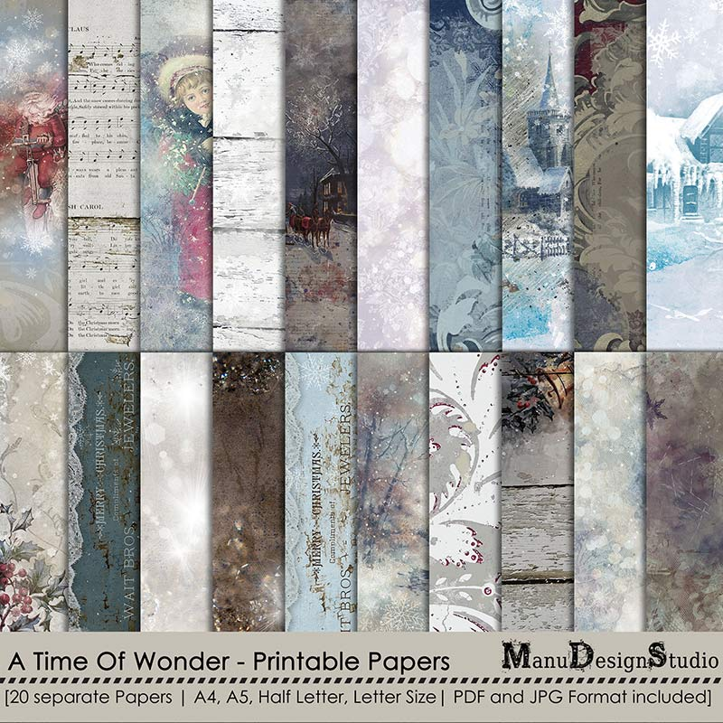 Christmas Winter Printable Papers A4, A5, Half Letter, letter Size