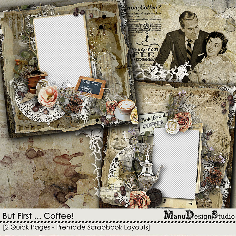 Coffee Digital Scrapbook Quick Pages