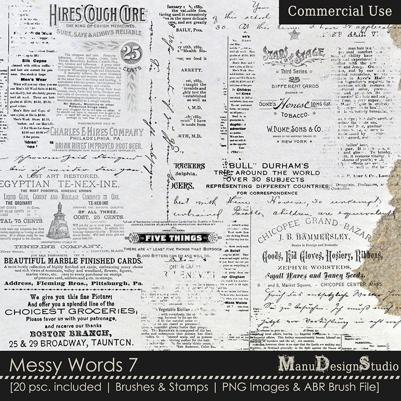 Messy Words Text Commercial Use Brushes and Stamps for Scrapbook Designers