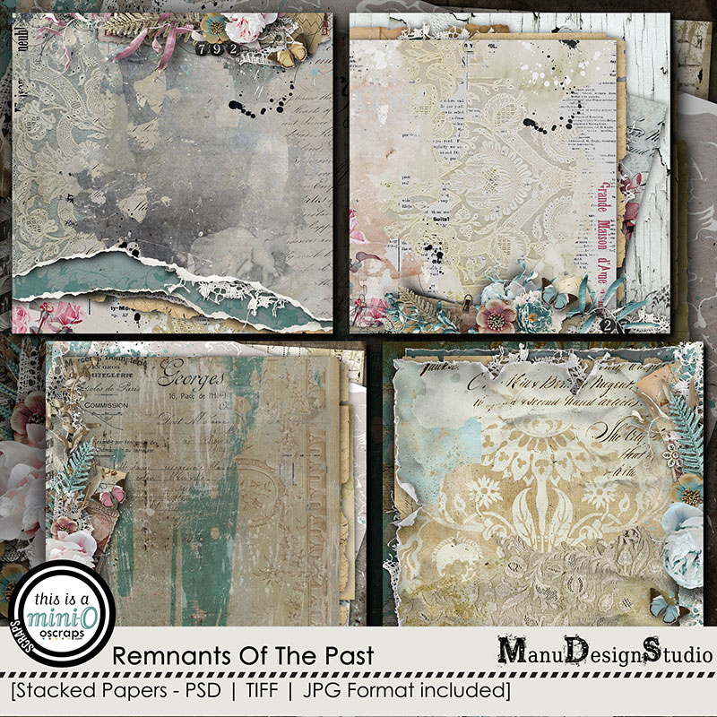 Remnants Of The Past - Vintage Scrapbook Stacked Papers