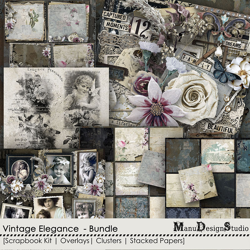 Vintage digital scrapbook collection: Vintage Elegance