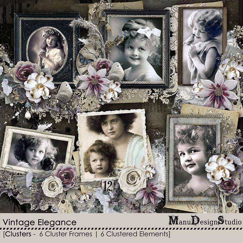 Vintage digital scrapbook cluster frames