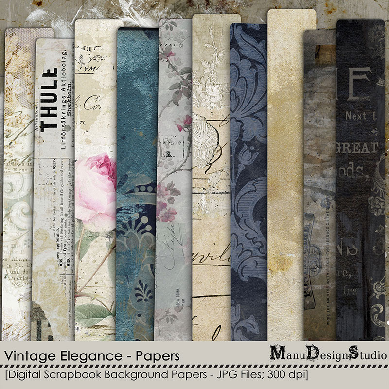 Vintage digital scrapbook papers