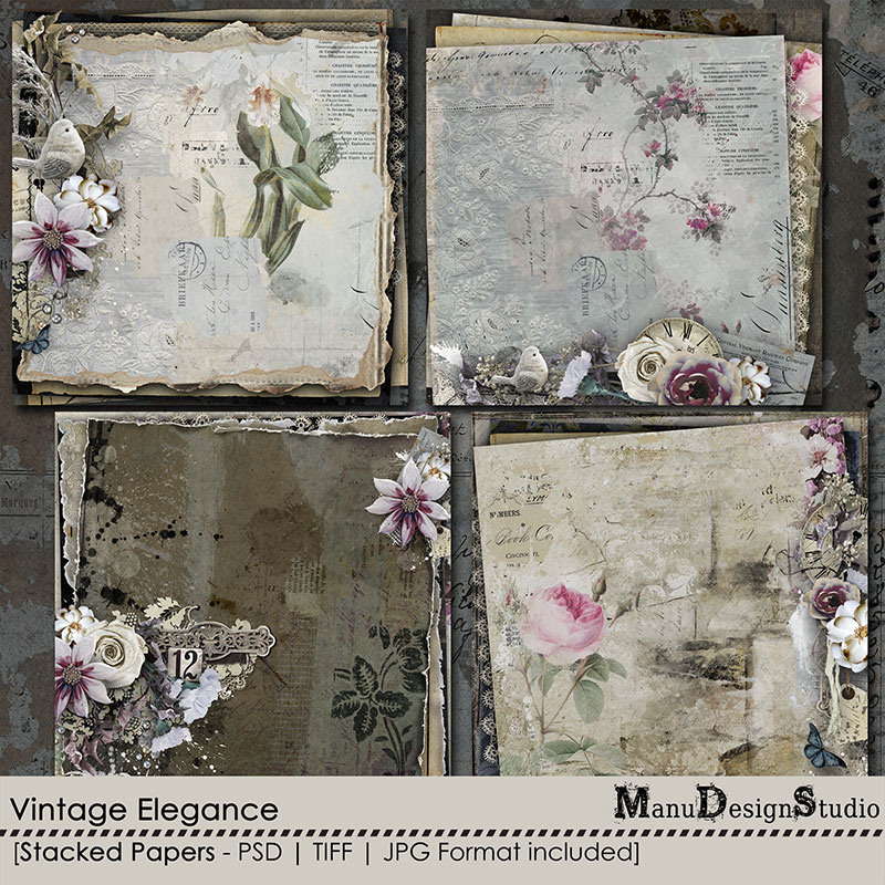 Vintage digital scrapbook stacked papers